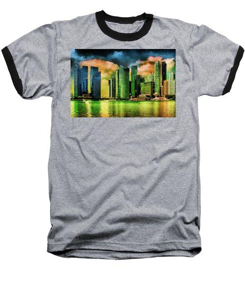 Singapore Skyline Baseball T-Shirt by Joseph Hollingsworth