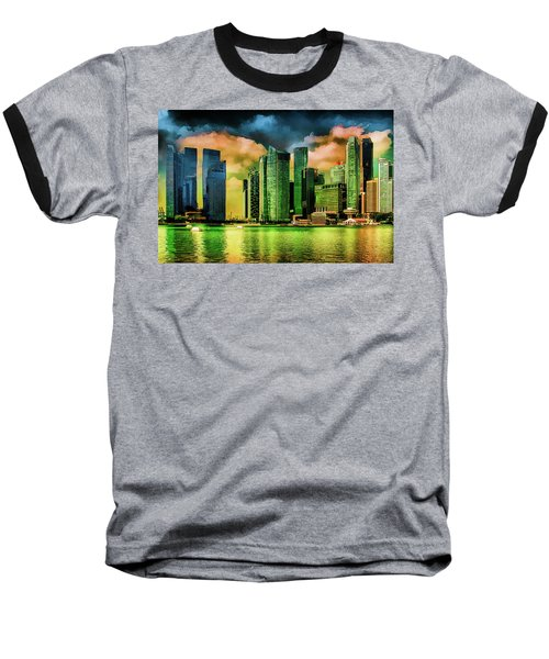 Singapore Skyline Baseball T-Shirt