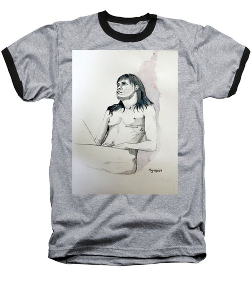 Sketch For White Amber Baseball T-Shirt by Ray Agius