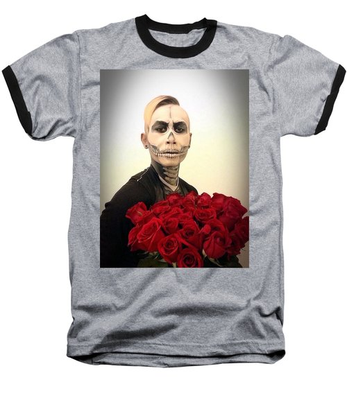 Skull Tux And Roses Baseball T-Shirt by Kent Chua