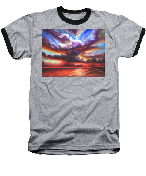 Baseball T-Shirt featuring the painting Skyburst by James Christopher Hill