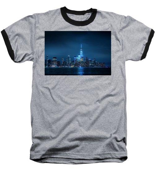 Skyline At Night Baseball T-Shirt