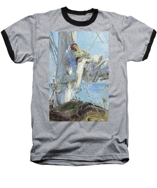 Sleeping Sailor Baseball T-Shirt by Henry Scott Tuke