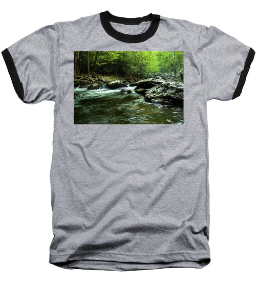 Baseball T-Shirt featuring the photograph Smoky Mountain River by Jay Stockhaus