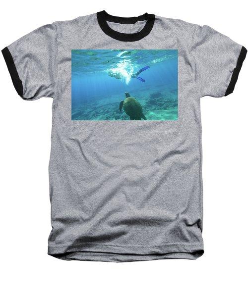 Snorkeler Female Sea Turtle Baseball T-Shirt