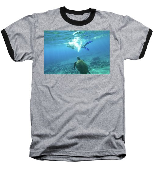 Snorkeler Female Sea Turtle Baseball T-Shirt