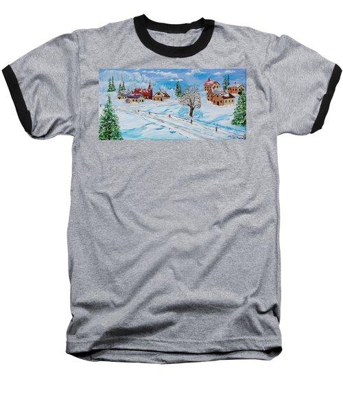 Winter Hamlet Baseball T-Shirt by Mike Caitham