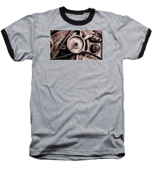 Soviet Ussr Combine Harvester Abstract Cogs In Monochrome Baseball T-Shirt by John Williams