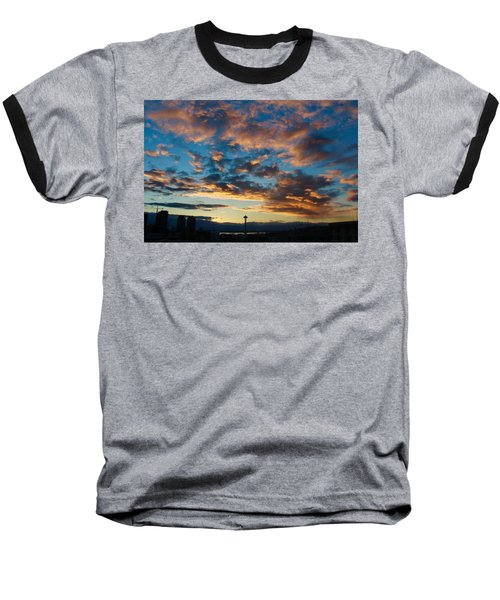 Space Needle In Clouds Baseball T-Shirt by Suzanne Lorenz