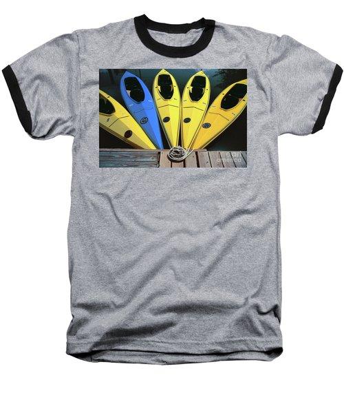 sports boat photography - Yellow Kayaks Baseball T-Shirt