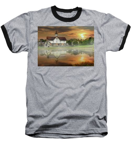 Baseball T-Shirt featuring the mixed media Star Barn Sunrise by Lori Deiter