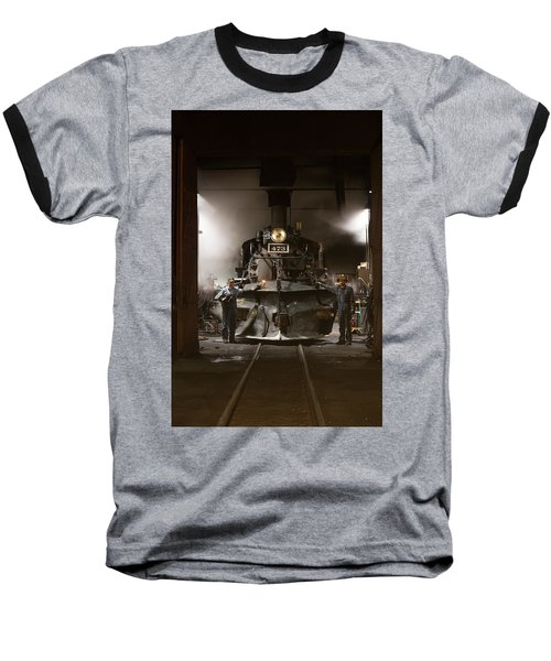 Steam Locomotive In The Roundhouse Of The Durango And Silverton Narrow Gauge Railroad In Durango Baseball T-Shirt by Carol M Highsmith