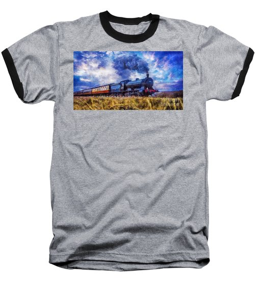 Steam Train Baseball T-Shirt by Ian Mitchell
