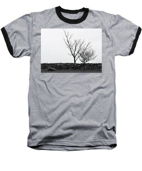 Baseball T-Shirt featuring the photograph Stone Wall With Trees In Winter by Nancy De Flon