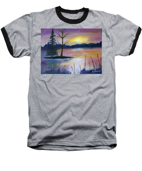 Baseball T-Shirt featuring the painting Stormy Sunset by Jack G Brauer