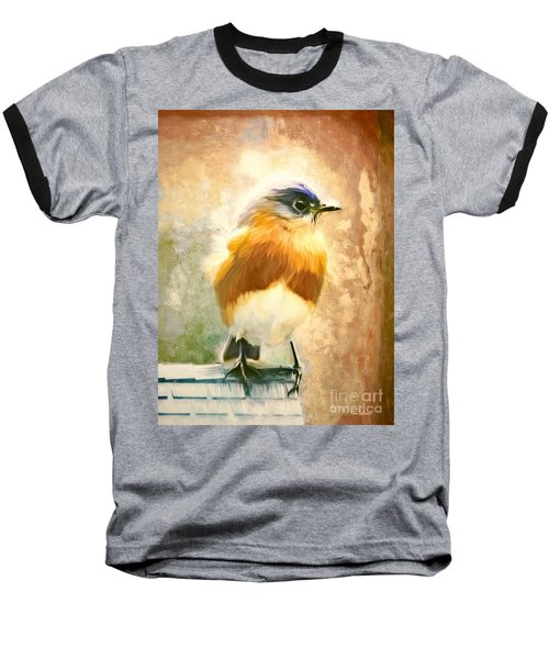 Strapping Bluebird Baseball T-Shirt by Tina LeCour