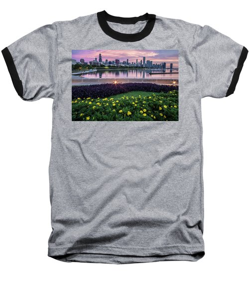 summer flowers and Chicago skyline Baseball T-Shirt