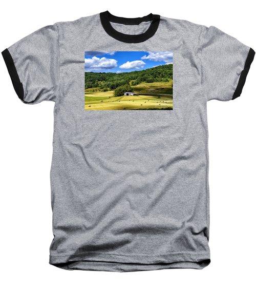 Summer Morning Hay Field Baseball T-Shirt by Thomas R Fletcher