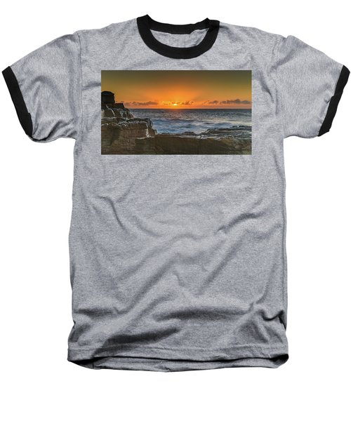 Sun Rising Over The Sea Baseball T-Shirt