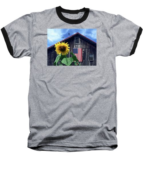 Sunflower By Barn Baseball T-Shirt by Sally Weigand