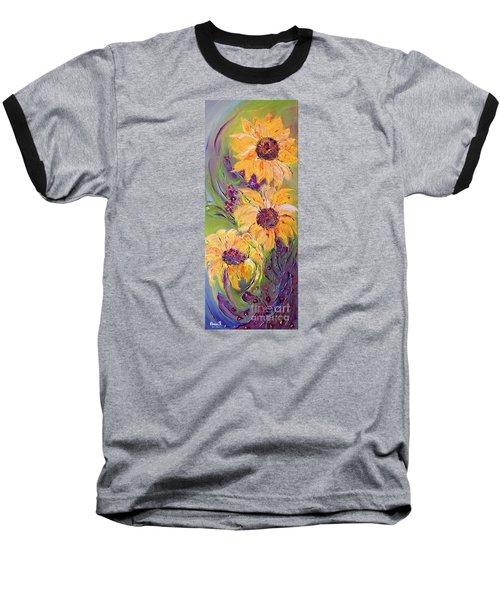 Sunflowers Baseball T-Shirt by AmaS Art