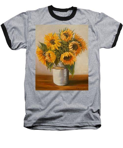 Baseball T-Shirt featuring the painting Sunflowers by Nina Mitkova
