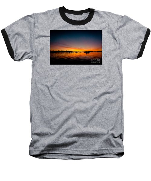 Sunrise Above Lake Water Summer Time Baseball T-Shirt