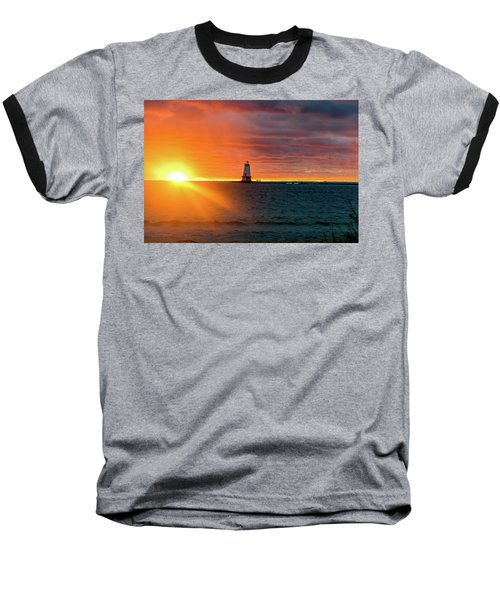 Sunset And Lighthouse Baseball T-Shirt