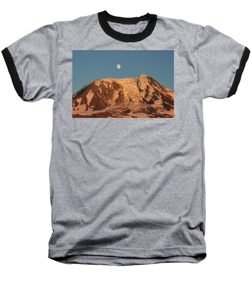 Baseball T-Shirt featuring the photograph Sunset And Moonrise At Mt Adams by Jack Moskovita