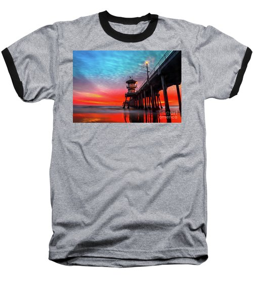 Sunset At Huntington Beach Pier Baseball T-Shirt