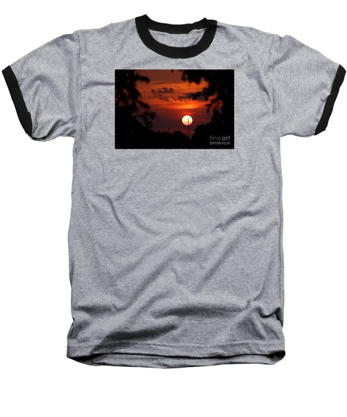 Sunset At Lake Hefner Baseball T-Shirt