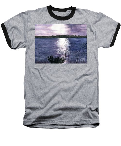 Baseball T-Shirt featuring the painting Sunset At Niagara River New York by Melly Terpening