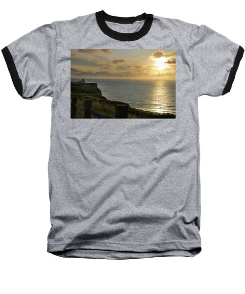 Baseball T-Shirt featuring the photograph Sunset At Rhossili Bay by Perry Rodriguez