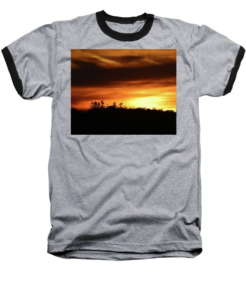 Sunset Behind The Clouds  Baseball T-Shirt by Lyle Crump