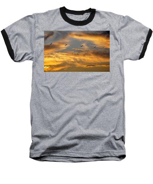 Sunset Flight Baseball T-Shirt by AJ Schibig