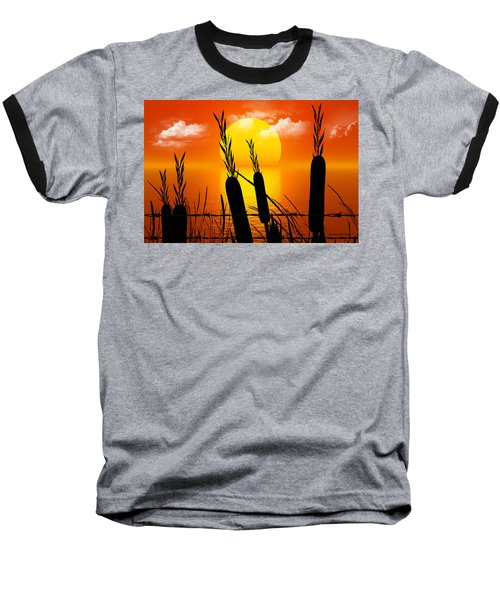 Sunset Lake Baseball T-Shirt by Robert Orinski