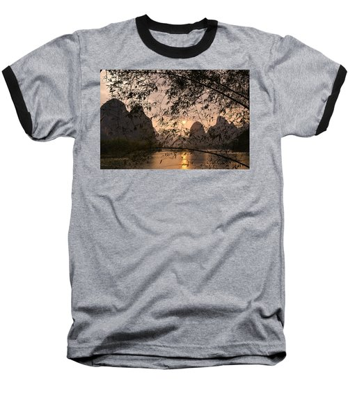 Sunset On The Li River Baseball T-Shirt