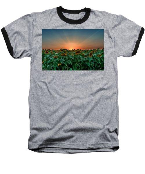 Sunset Over A Sunflowers Field Baseball T-Shirt