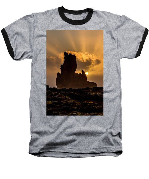 Sunset Over Cliffside Landscape Baseball T-Shirt