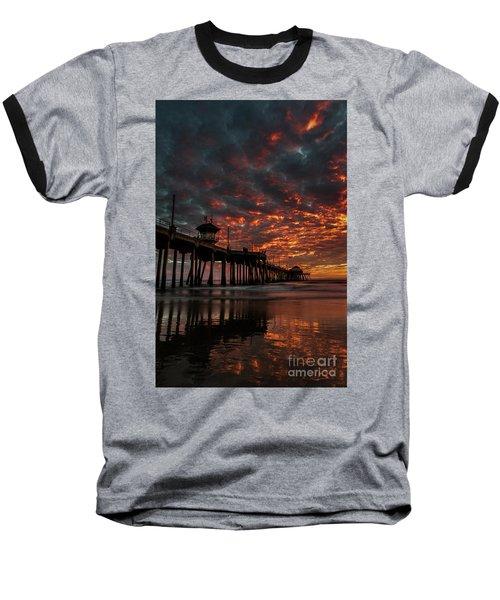 Sunset Over Huntington Beach Pier Baseball T-Shirt by Peter Dang
