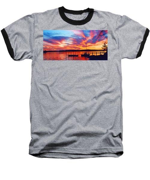 Sunset Over Lake Murray Baseball T-Shirt