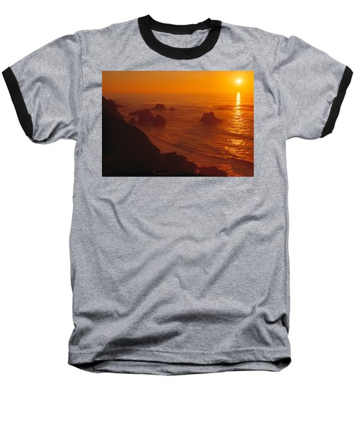Sunset Over The Pacific Ocean Baseball T-Shirt by Utah Images