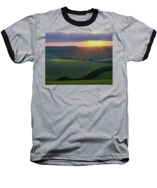 Sunset Over The South Downs Baseball T-Shirt