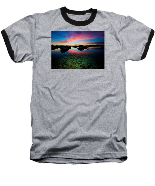 Sunset With A Whale Baseball T-Shirt by Sean Sarsfield