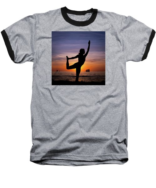 Sunset Yoga Baseball T-Shirt