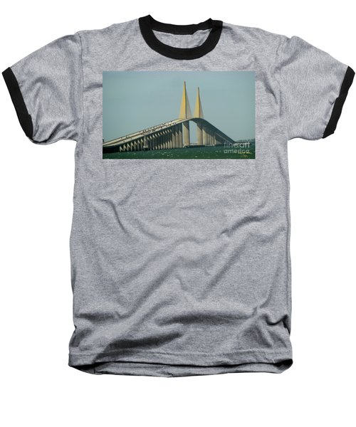 Sunshine Skyway Bridge Baseball T-Shirt by Donna Brown