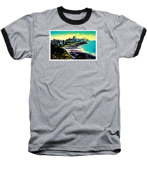 Surreal Colors Of Miami Beach Florida Baseball T-Shirt by Elaine Plesser