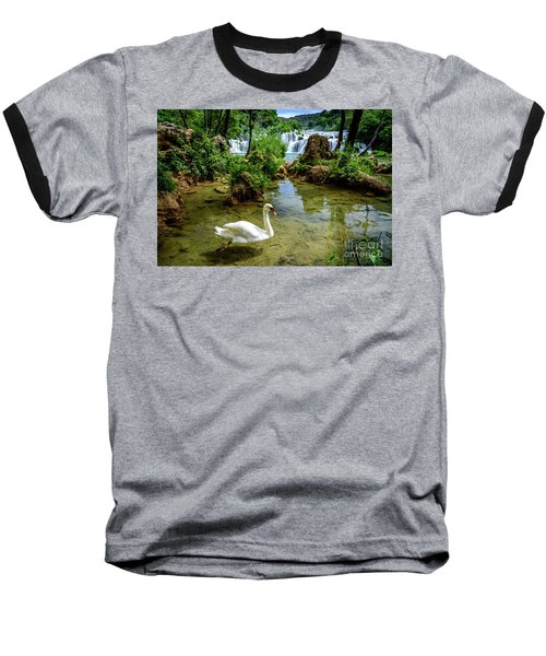 Swan In The Waterfalls Of Skradinski Buk At Krka National Park In Croatia Baseball T-Shirt