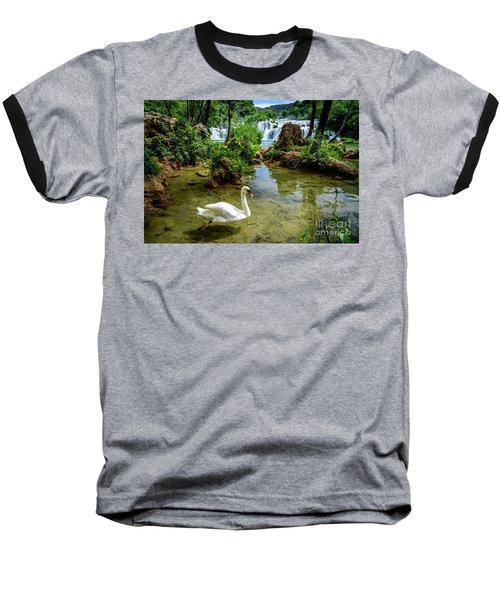 Swan In The Waterfalls Of Skradinski Buk At Krka National Park In Croatia Baseball T-Shirt