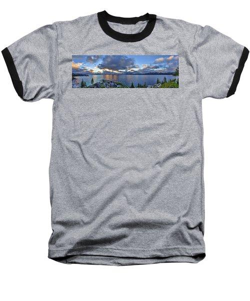 Tahoe Sunset Panorama Baseball T-Shirt